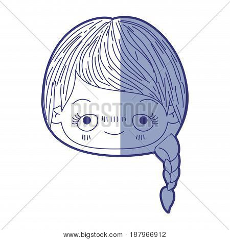 blue shading silhouette of kawaii head cute little girl with braided hair and embarrassed facial expression vector illustration