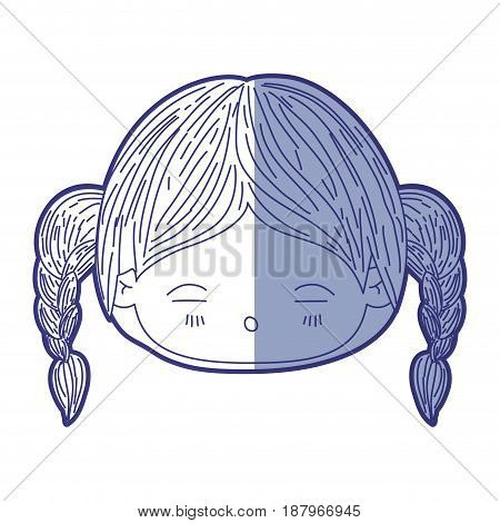 blue shading silhouette of kawaii head little girl with braided hair and facial expression tired vector illustration