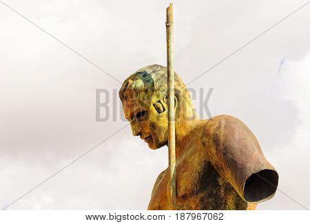 Detail of the majestic bronze sculpture of Daedalus by Igor Mitoraj - Agrigento Sicily Italy, 19 October 2011
