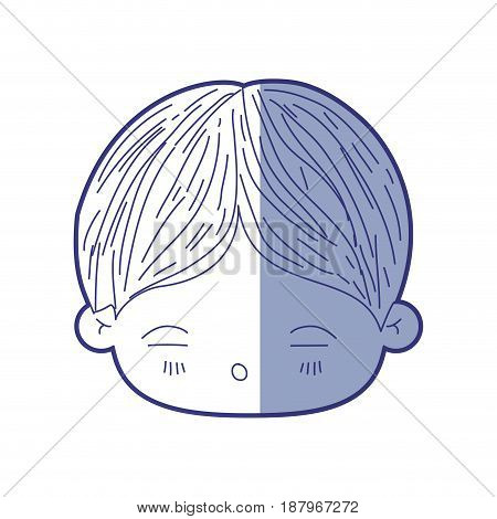 blue shading silhouette of kawaii head of little boy with facial expression of tired vector illustration
