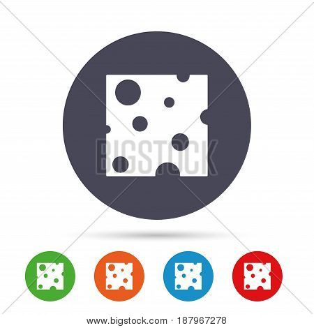 Cheese sign icon. Slice of cheese symbol. Square cheese with holes. Round colourful buttons with flat icons. Vector