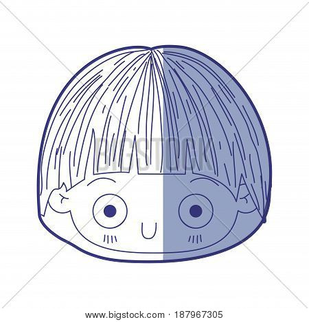 blue shading silhouette of kawaii head of little boy with facial expression depressed vector illustration