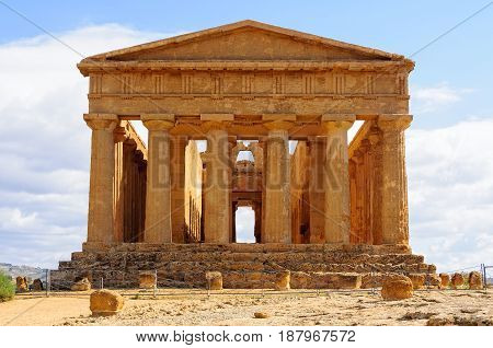Temple of Concordia in the Valley of Temples one of the best-preserved Greek temples - Agrigento Sicily Italy