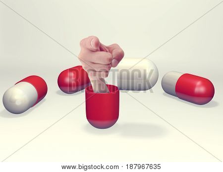 Hand coming out of open capsule, 3D rendering