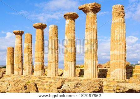 Eight columns of the Temple of Olympian Zeus - Agrigento Sicily Italy