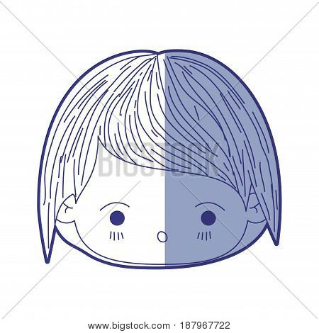 blue shading silhouette of kawaii head of little boy with facial expression of surprise vector illustration