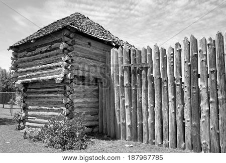 Old Wild West fort in black and white.