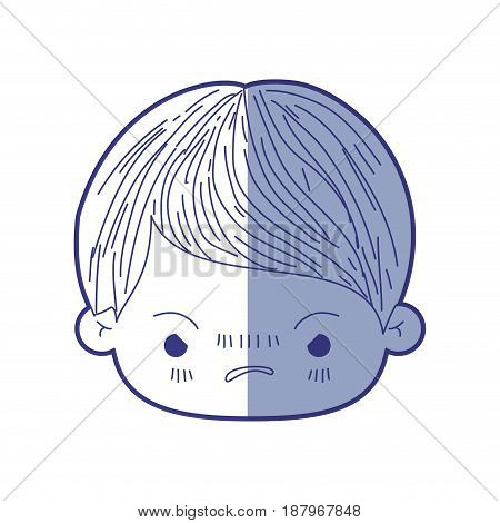 blue shading silhouette of kawaii head of little boy with facial expression angry vector illustration