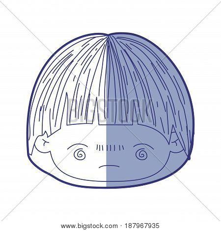 blue shading silhouette of kawaii head of little boy with facial expression bored vector illustration