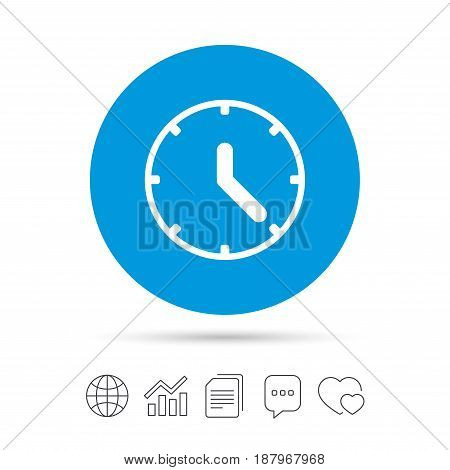 Clock sign icon. Mechanical clock symbol. Copy files, chat speech bubble and chart web icons. Vector