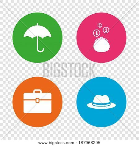 Clothing accessories icons. Umbrella and headdress hat signs. Wallet with cash coins, business case symbols. Round buttons on transparent background. Vector