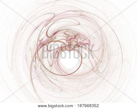 Abstract spinning shape which ends as a heart at the center. Love concept. White background. Pink shape