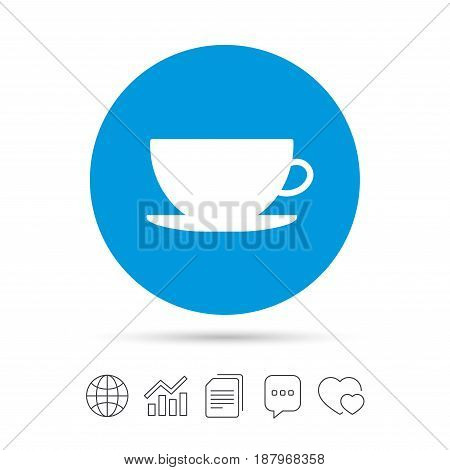 Coffee cup sign icon. Coffee button. Copy files, chat speech bubble and chart web icons. Vector