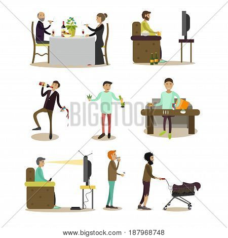Vector set of people with bad habits isolated on white background. Alcoholic, addicts, tobacco smokers, tramp, tv zombie flat style design elements, icons.