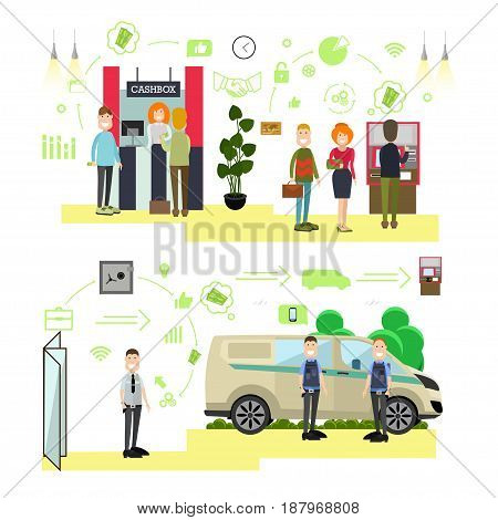 Vector illustration of bank staff, armed collectors, security guard and customers standing in queue at cashbox and ATM. Bank people, icons isolated on white background. Flat style design elements.