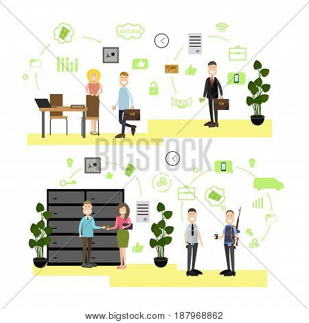 Vector illustration of bank managers and customers. armed collector and security guard. Bank people, bank symbols, icons isolated on white background. Flat style design elements.