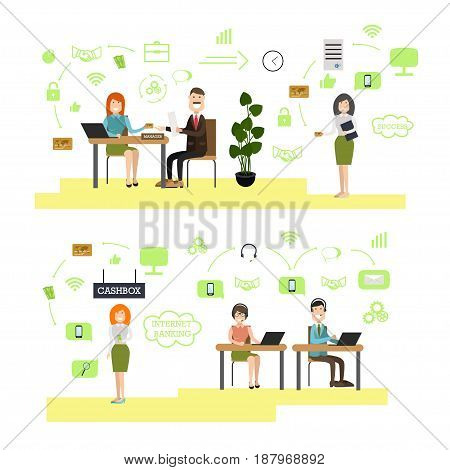 Vector illustration of bank managers, customer service representatives and clients. Bank people, bank symbols, icons isolated on white background. Flat style design elements.