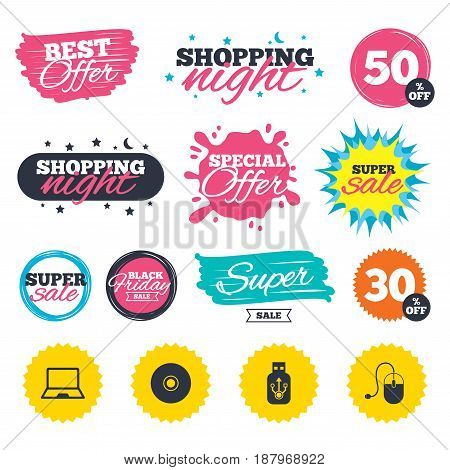 Sale shopping banners. Special offer splash. Notebook pc and Usb flash drive stick icons. Computer mouse and CD or DVD sign symbols. Web badges and stickers. Best offer. Vector