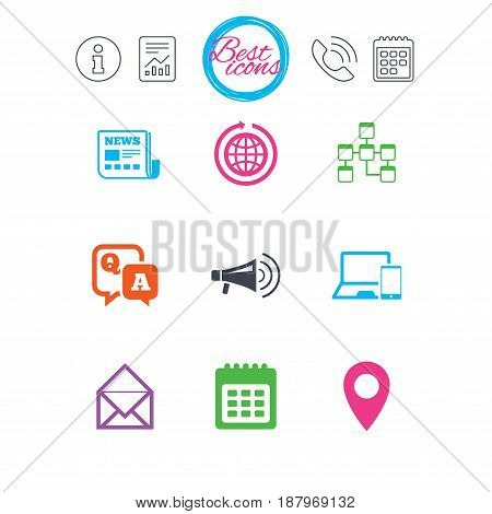 Information, report and calendar signs. Communication icons. News, chat messages and calendar signs. E-mail, question and answer symbols. Classic simple flat web icons. Vector