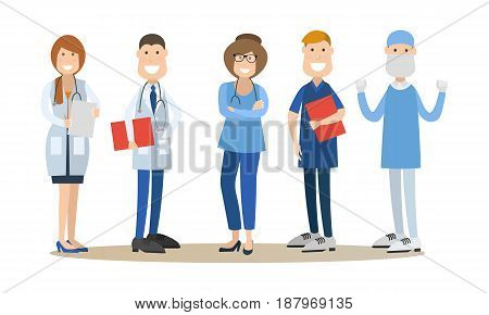 Vector illustration of men and women in white coats and hospital scrubs. Group of medical doctors, healthcare workers flat style design elements, icons isolated on white background.