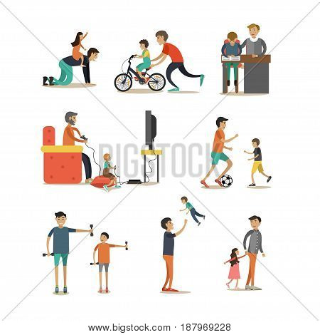Vector flat icons set of father with child characters isolated on white background. Fathers playing video games, leisure games, walking in park, doing sport and homework with their children.