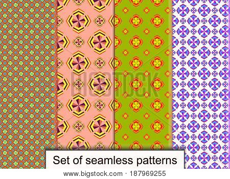 Set seamless patterns of geometric 3D shapes. For design wallpaper cover invitation fabric and textile. Vector pattern.