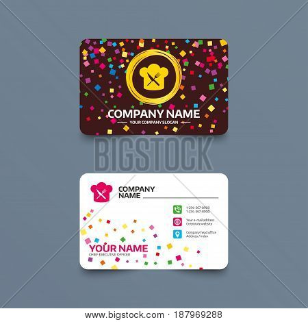 Business card template with confetti pieces. Chef hat sign icon. Cooking symbol. Cooks hat with fork and knife. Phone, web and location icons. Visiting card  Vector