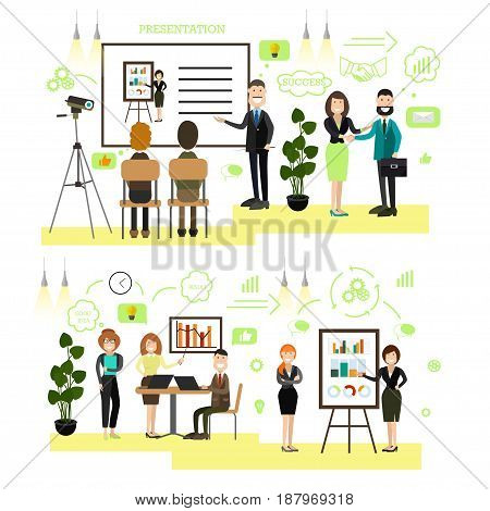 Vector illustration of office people giving presentation, taking part in conference and workshop, making a deal. Business people, symbols, icons isolated on white background. Flat style design.