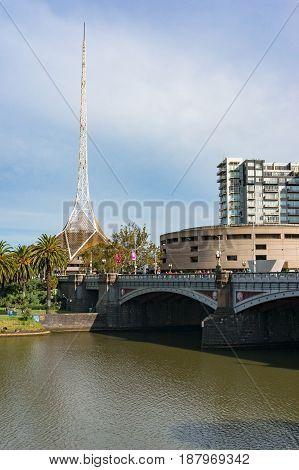 Melbourne Cityscape With Princes Bridge And Melbourne Arts Centre Building