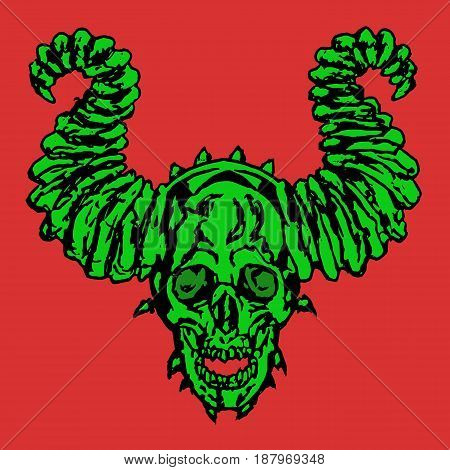 Horror demonic skull with horns. Vector illustration. Apocalypse demon from hell.