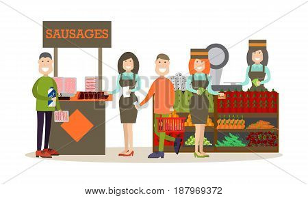 Vector illustration of people doing shopping in grocery store or in marketplace. Shopping people concept flat style design elements, icons isolated on white background.