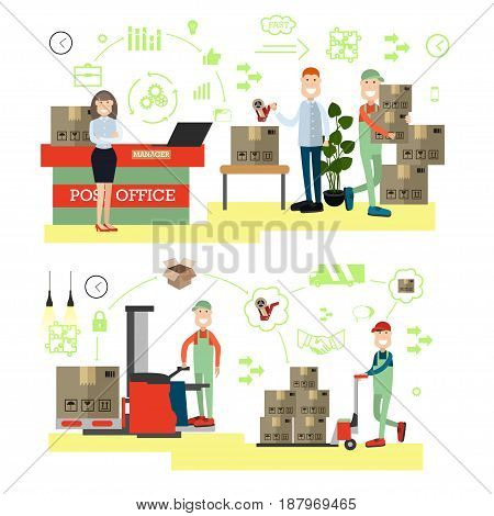 Fast delivery concept vector illustration. Postal workers. Delivery schemes, symbols, icons, flat style design elements.