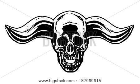 Demon skull with horns. Vector illustration. White background