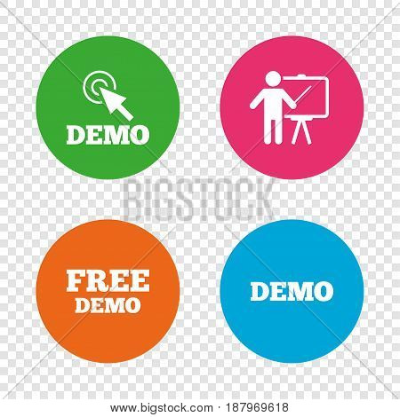 Demo with cursor icon. Presentation billboard sign. Man standing with pointer symbol. Round buttons on transparent background. Vector