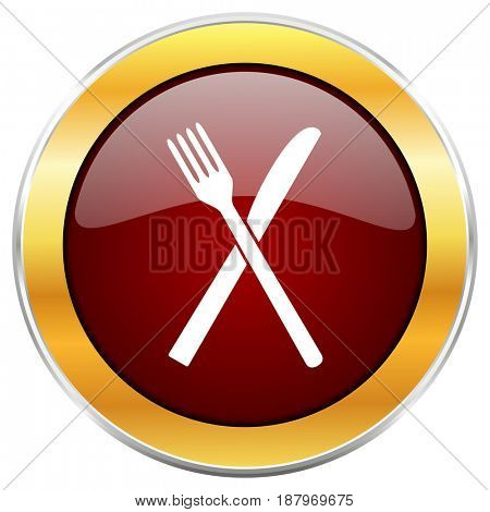 Restaurant red web icon with golden border isolated on white background. Round glossy button.
