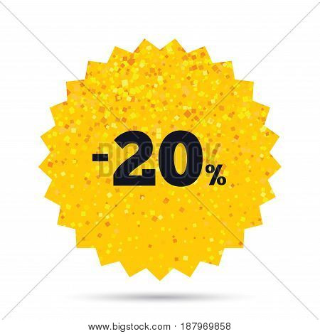 Gold glitter web button. 20 percent discount sign icon. Sale symbol. Special offer label. Rich glamour star design. Vector