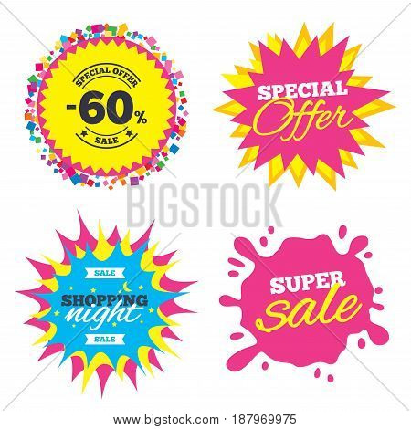 Sale splash banner, special offer star. 60 percent discount sign icon. Sale symbol. Special offer label. Shopping night star label. Vector