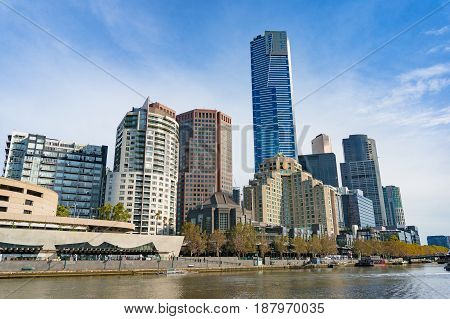 Beautiful Melbourne Southbank neighbourhood cityscape panorama with Yarra river. Southbank Melbourne Australia