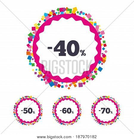 Web buttons with confetti pieces. Sale discount icons. Special offer price signs. 40, 50, 60 and 70 percent off reduction symbols. Bright stylish design. Vector
