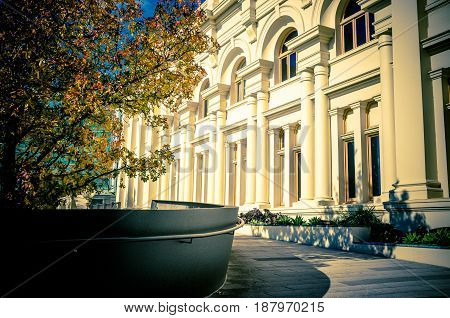 St. Kilda Town Hall And Beautiful Yellow Tree Growing Nearby In Autumn. Melbourne, Victoria, Austral