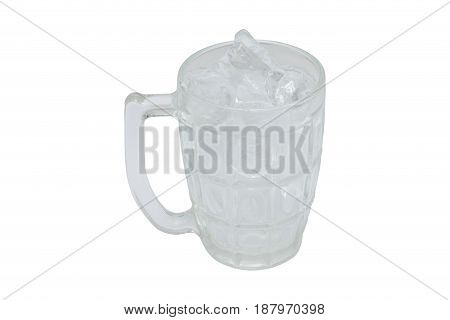Glass clear ice cubes. isolated on white backgroundwith clipping path