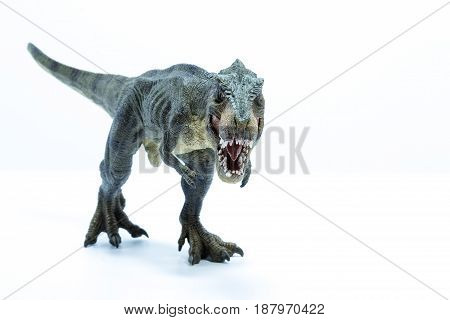 Green Dinosaur Tyrannosaurus Rex With Open Mouth In Attack Position - Front View White Background