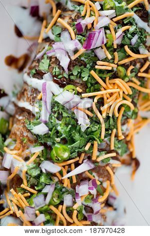 Closeup Of A Punjabi Dosa Roll With Fresh Toppings