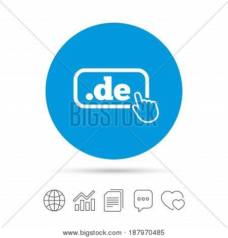 Domain DE sign icon. Top-level internet domain symbol with hand pointer. Copy files, chat speech bubble and chart web icons. Vector