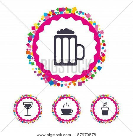 Web buttons with confetti pieces. Drinks icons. Coffee cup and glass of beer symbols. Wine glass sign. Bright stylish design. Vector