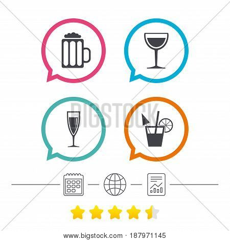 Alcoholic drinks icons. Champagne sparkling wine and beer symbols. Wine glass and cocktail signs. Calendar, internet globe and report linear icons. Star vote ranking. Vector