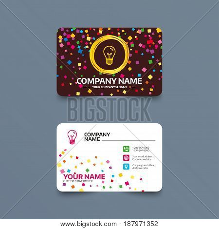 Business card template with confetti pieces. Light bulb icon. Lamp E27 screw socket symbol. Illumination sign. Phone, web and location icons. Visiting card  Vector