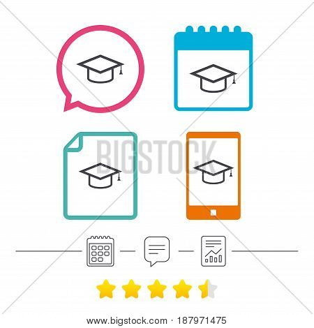 Graduation cap sign icon. Higher education symbol. Calendar, chat speech bubble and report linear icons. Star vote ranking. Vector