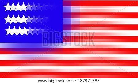 Shaken illustration of USA flag. Cartoon of the United States flag