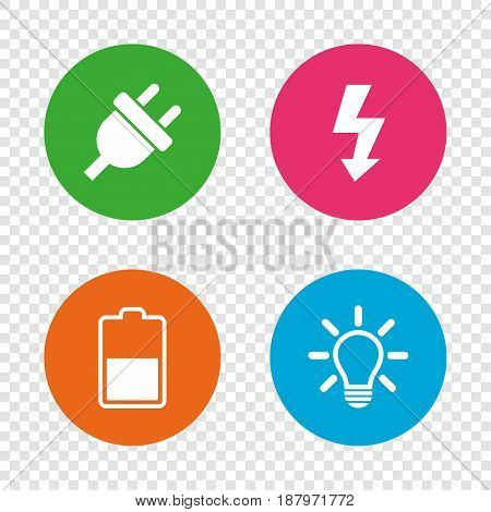 Electric plug icon. Light lamp and battery half symbols. Low electricity and idea signs. Round buttons on transparent background. Vector